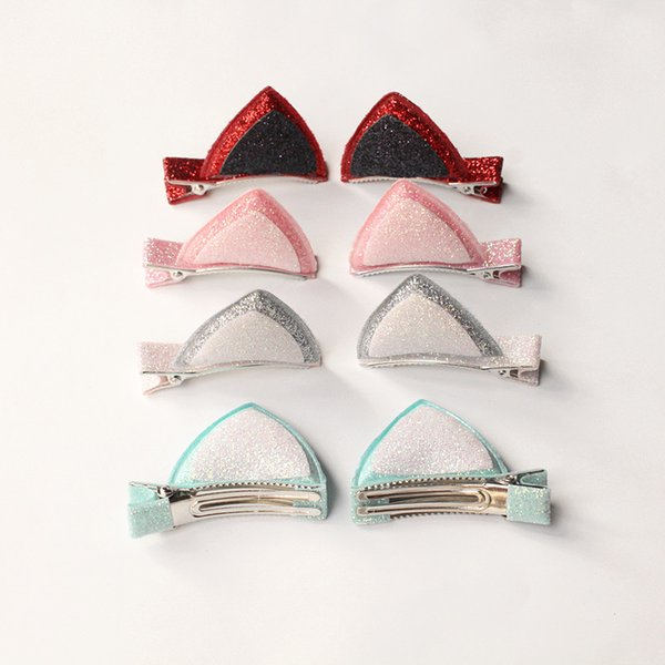 New Korean Glitter Felt Cartoon Cat Ears Baby Hair Clips 12pairs/lot Patchwork Milticolor Cat Ears Headwear