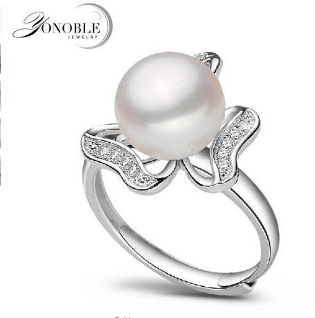 YouNoble Wedding natural pearl rings 9-10mm for women white lady pearl ring freshwater 925 silver ring jewelry girlfriend birthday gift