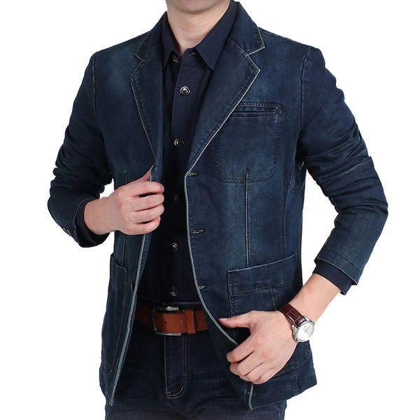 Größere Größe Denim Blazer Männer Casual Anzug Jacke Hohe Qualität Frühling Herbst Männer Top Kleidung blazer hombre