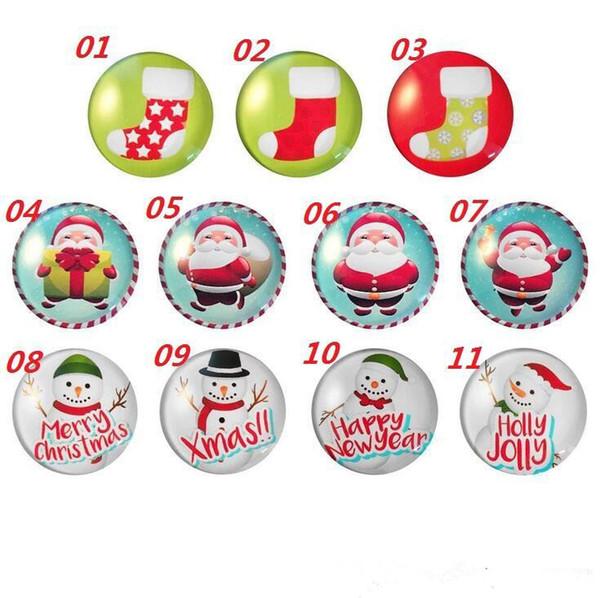 New Christmas Fridge Magnets Sticker Snowman Santa Claus Cups Xmas Fridge Magic Magnet Home Decor Glass Cabochon Sticker