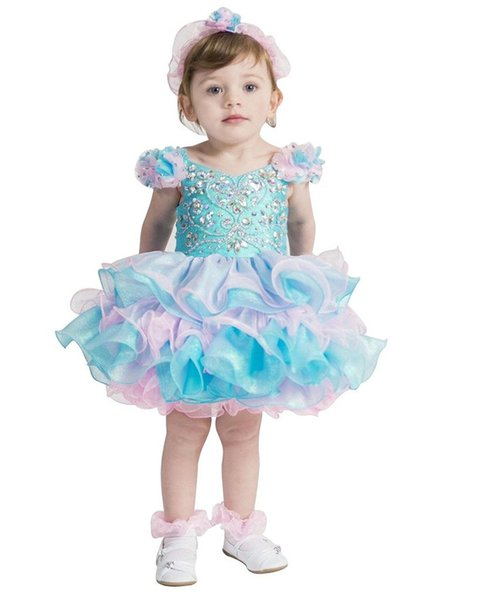 Turquoise Glitz National DIY Pageant Cupcake Dress Infant Birthday Party Skirts Toddler Girls Crystal Pageant Dresses