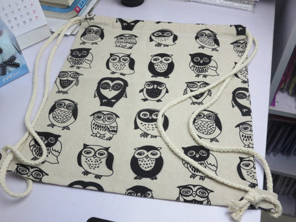 10pcs/lot 2017 New Arrival Backpack style cotton canvas Brief Animals Owls Birds printed women girl Drawstring Shoulder Bags Backpack bags