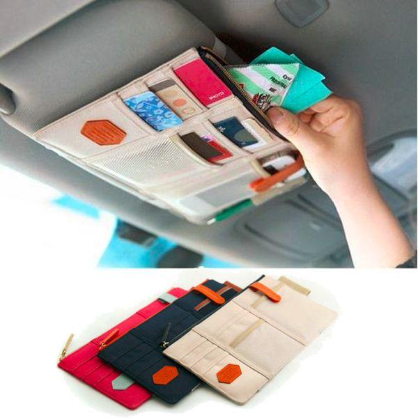 Carro Viseira de Sol Ponto de Armazenamento de Documentos de Bolso Saco Organizador Titular do Cartão de Bolsa Cartão de Crédito Namecard caneta bege