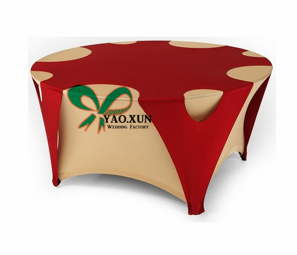 Gold And Red Color Round Lycra Spandex Table Cover \ Table Cloth For Wedding Decoration