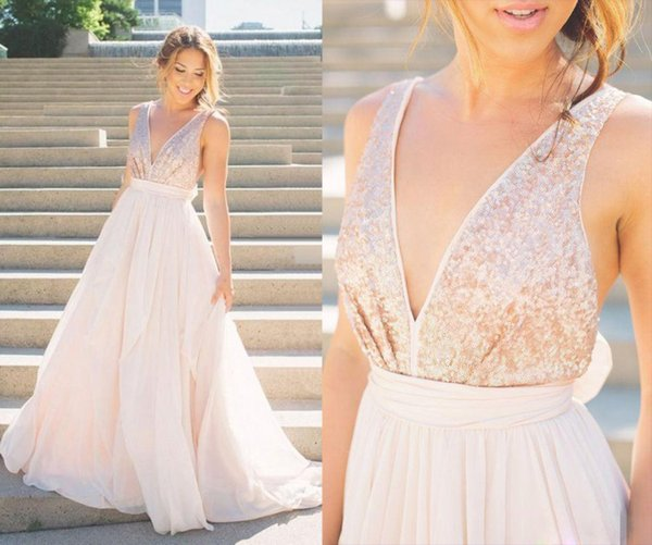 c5b9863f53488 Modern 2017 Sexy Prom Dresses Rose Gold Sequins Blush Pink Tulle Backless  A-Line V