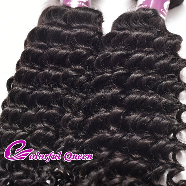 Colorful Queen Curly Indian Virgin Hair Deep Wave 4Pcs 7A Natural Raw Indian Human Hair Bundles Deep Curly Weave 400g/Lot 8-26 Inch