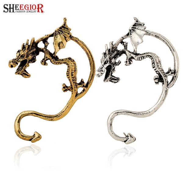 SHEEGIOR Vintage China Dragão Clipe Brincos para As Mulheres de Ouro / Prata cor Oco Ear Cuff 1 peça Esquerda Jóias Ear Brincos de Animais