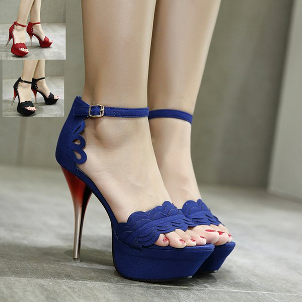 Ladies Red Black Blue Paint High Heels Stilettos Open Toe Ankle Strap Wedding Party Prom Shoes Size 35 to 40