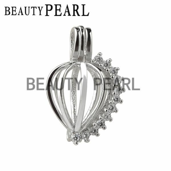 5 Pieces Cubic Zirconia Sparkling Heart Cage Wish Pearl Love Pendant 925 Sterling Silver Heart Cage