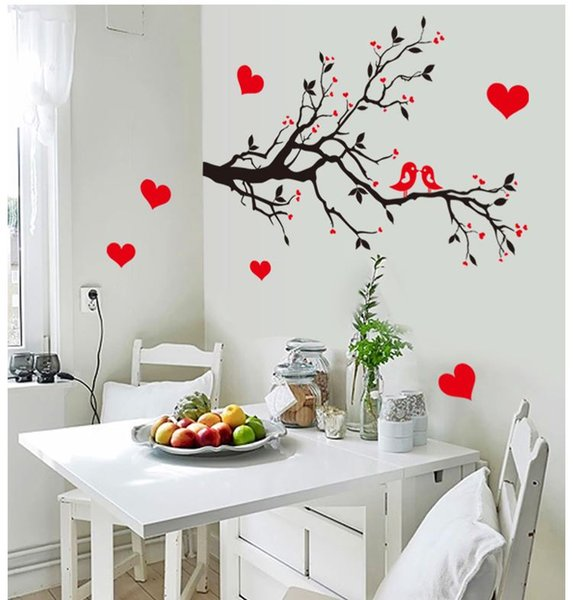7179 Free Shipping DIY Wall Art Decal Decoration Love Birds Tree Branches Wall Stickers Home Decor 3D Wallpaper for Living Room