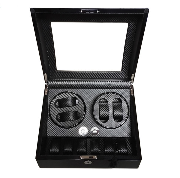 top popular Global Fit Luxury for Swiss Brand Watch Storage&Display Watch Winder Box Black Glossy Wooden Case Rotator 4+6 Mechanical Watches Movement 2021