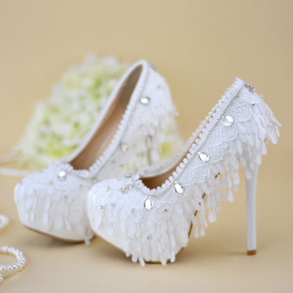 100% Handmade Wedding Shoes Women's High Heels shoes rhinestone crystal bride shoes Woman Lace Party Shoe pumps