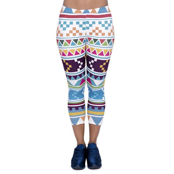 Women Capri Leggings Aztec Morski 3D Graphic Print Lady Soft Cropped Trousers Girl Tight Capri Pants Elastic Waist Band Seven Socks (J45772)