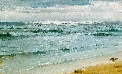 Framed peder severin kroyer - seascape mar en skagen with ocean waves,Hand Painted Art Oil Painting On Canvas.Multi size Free Shipping S019