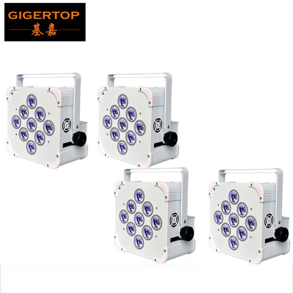 Freeshipping 4PCS Battery Powered 9x18W RGBWA Purple LED Display Wireless Remote Led Par Light White Case Infrared Controller TP-B07