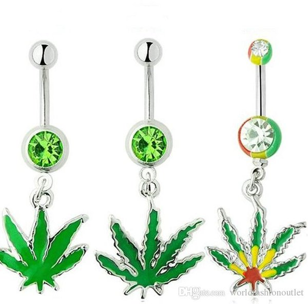 Navel Ring Bell Button Bar Ring Leaves Dangle Barbell Rhinestone Body Piercing Sexy Rhinestone Ball Green Leaf Medical Stainless Steel Belly