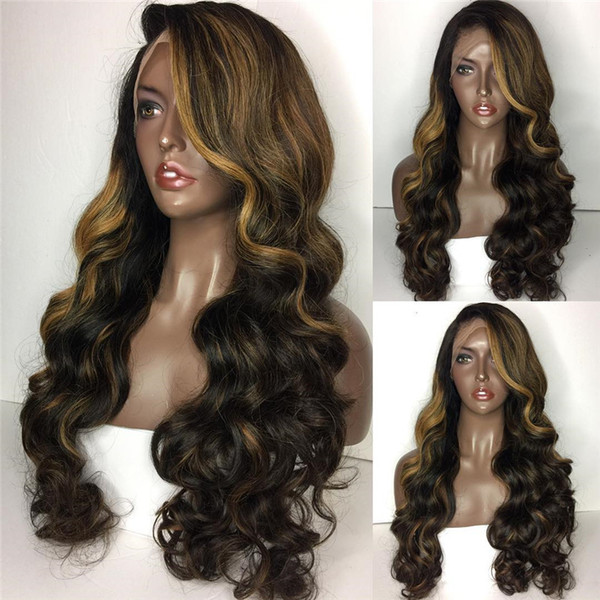 Highlight Lace Wig 100% Virgin Remy Hair Loose Wave Hot Sale Two Tone Lace Front Wig Free Shipping