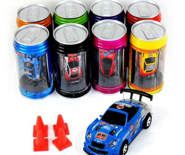 HOT 8 color Mini-Racer Remote Control Car Coke Can Mini RC Radio Remote Control Micro Racing 1:64 Car perfect as gift JC116