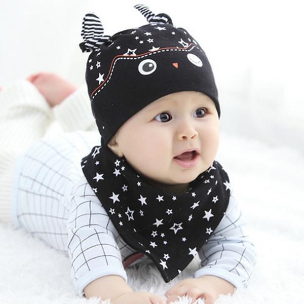 Cotton Owl Baby Hat Toddler Infant Kids Caps Knitted Baby Beanies +Baby bibs saliva towel bandana bibs dribble bibs Babador W2