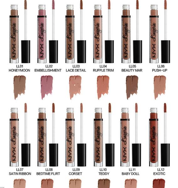 best selling NYX LIP LINGERIE matte Nude velvet liquid lipstick   lipgloss 12 color ePacket Free shipping