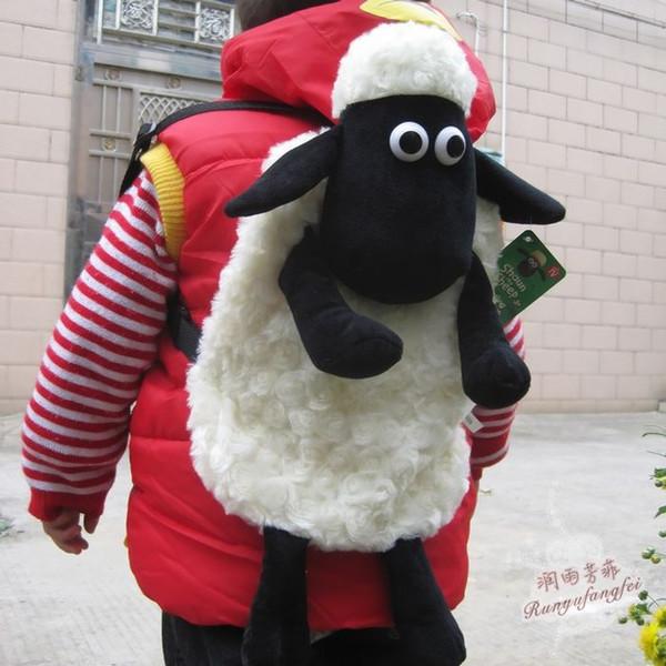 GroßhandelsCandice Guo! Neue Ankunft sehr niedlich weiche Schafe Puppe Plüschtier Kinder Schultasche Baby Cartoon Rucksack Lamm Beutel Geburtstagsgeschenk 1St