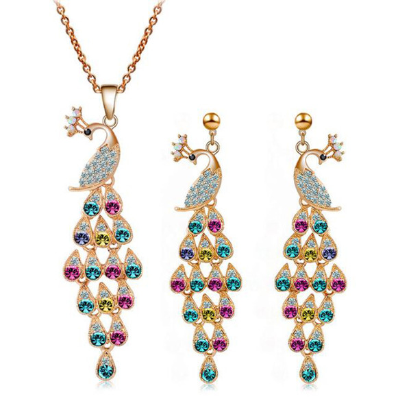 Retro Fashion Peacock Jewelry Set High Quality Necklace Earrings Sets For Wedding Best Gift Min Order 5 Sets 442