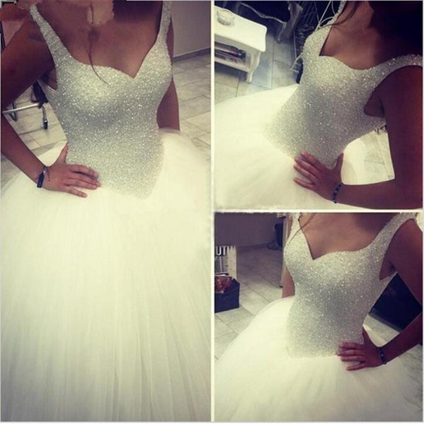 best selling Shining Luxury Straps White Crystals Ball Gown Wedding Dress Beading Tulle Vestido De Noiva Bridal Gowns Wedding Gowns