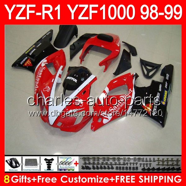 8gifts Body Santander red For YAMAHA YZFR1 98 99 YZF1000 YZF-R1 98-99 90NO20 YZF 1000 YZF-1000 YZF R 1 YZF R1 1998 1999 black red Fairing