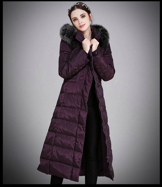 top popular Womens Winter Long Down Jacket Duck Down Parkas Real Fox Fur Hood Ladies Warm Outwear Coat Hooded Big Size S-5XL Thicking Outdoor Jacket 2019