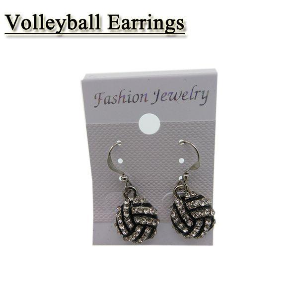 Hot Selling European Sport Full Rhinestone Basketball Volleyball Rugby Softball Baseball Long Earrings 25 color
