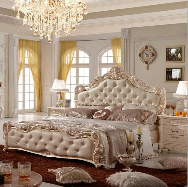 factory price king size leather modern european solid wood bed Fashion Carved bed french bedroom furniture 10147