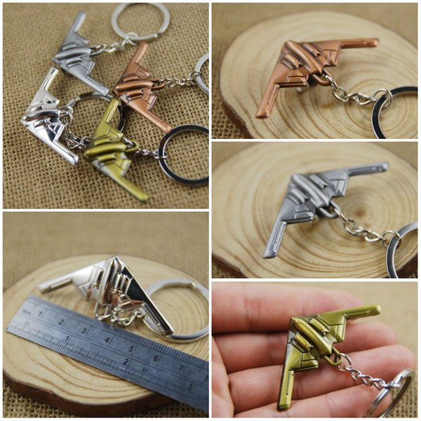 Promotion Aircraft Airplane Stealth Bomber Model Metal Keychain Key Chain Ring Keyfob Keyring 4 Color Key Holder Fashion Gifts C23L