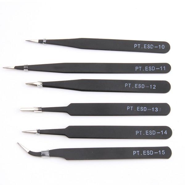 Wholesale- Multifunctional New 6pcs/set Anti-Static Tweezers Anatomical Surgical Anti-Magnetic Tool Set ESD Eyebrow Nail clip Repair Tools
