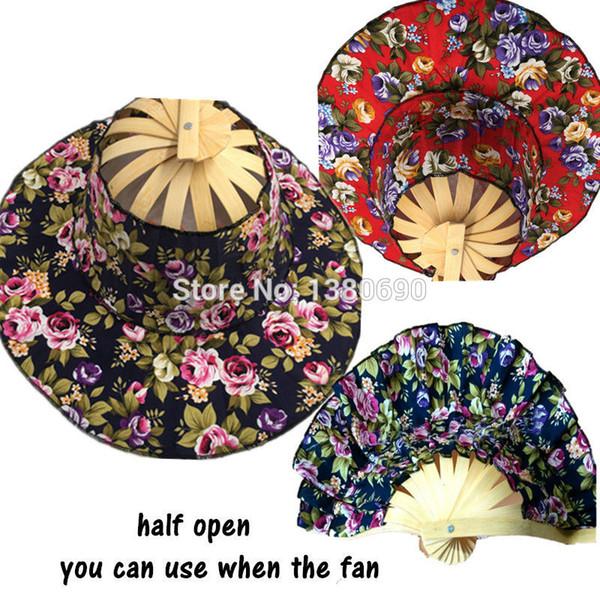 Wholesale- 1PC Ventaglio pieghevole Nuovo Arriva Tenuto in mano Ventilatori pieghevoli Tappo da viaggio Estate Donna Ragazza Fan Hat Bamboo Dancing Fan