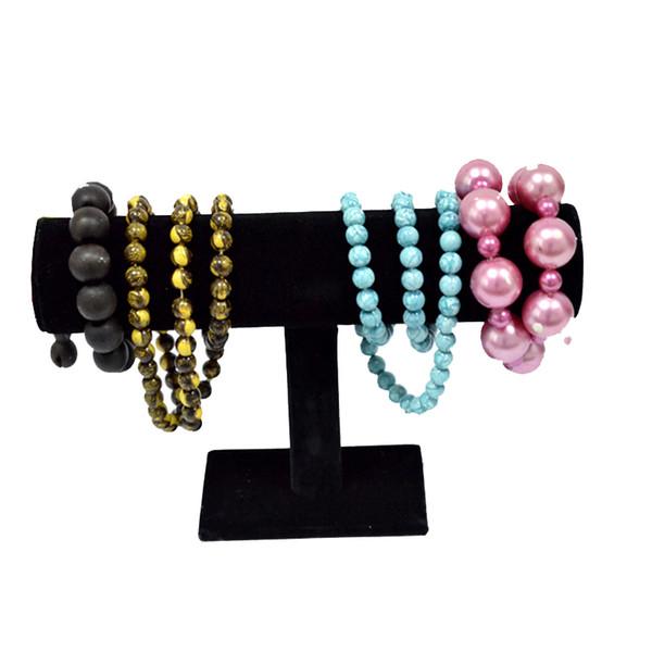 Wholesale Free Shipping 2Pcs Jewelry Display Rack Black Velvet Bangle Necklace bracelet T Bar Holder 23.5*15*7(CM)