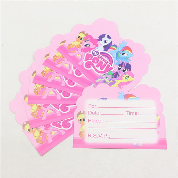 Wholesale My Little Pony Kids Favors Paper Invitation Cards Baby
