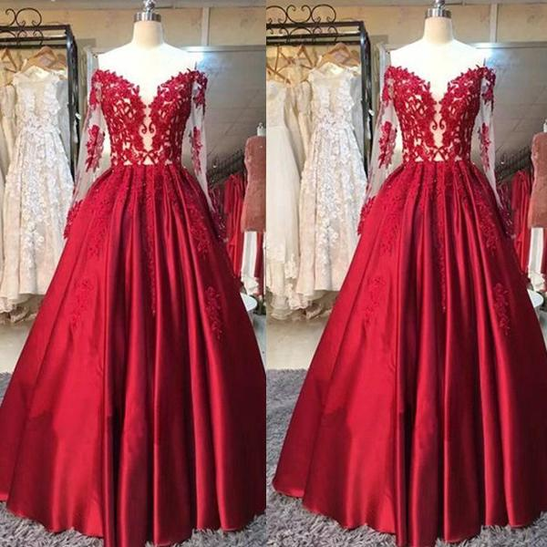 4529f6e036 Red Lace Sheer Off The Shoulder Puffy Prom Dresses 2017 Appliques Long  Sleeves Corset Floor Length Evening Gowns Evening Dresses Online Shop Evening  Dresses ...