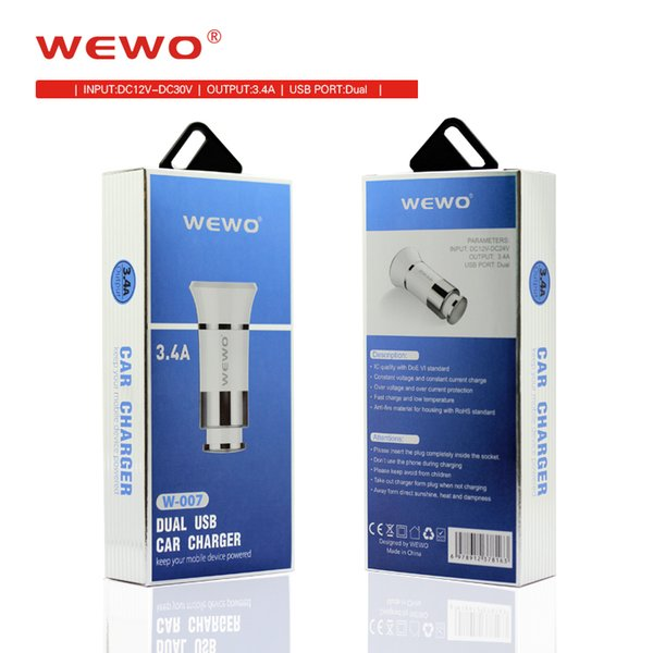 Original WEWO Car Charger with 2 ports Dual USB Chargers 5V/3.4A fast charge Full Compatible safe Car Charging For Cell Phone