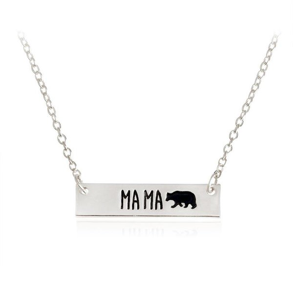 New Fashion Cute animal bears necklace jewelry Lettering Mama Bear Handmade bar Necklace mother love free shipping