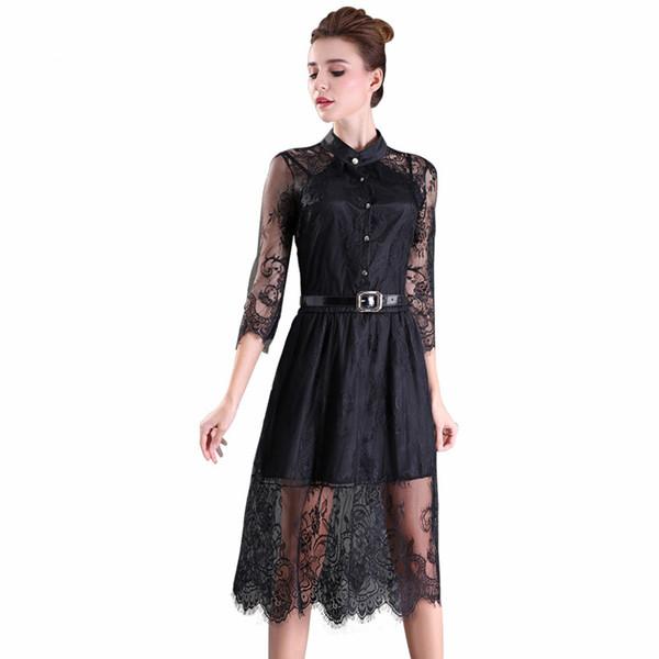 S-2XL Verkauf Sommer Kleider aushöhlen Frauen halbe Hülse elastischer Taillen-Blumenhäkelarbeit beiläufiges schwarzes Spitze-Kleid geben Verschiffenfrauenkleider frei