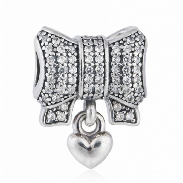 2017 Summer New Christmas Gift 925 Sterling Silver Pave Crystal Bow Charms with Heart For Women Bracelets Fine Jewelry DIY Accessories HB443