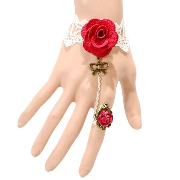 Pulsera Gótica de Encaje Blanco Rosa Roja  Vintage Lace Bracelet Gothic Red Rose