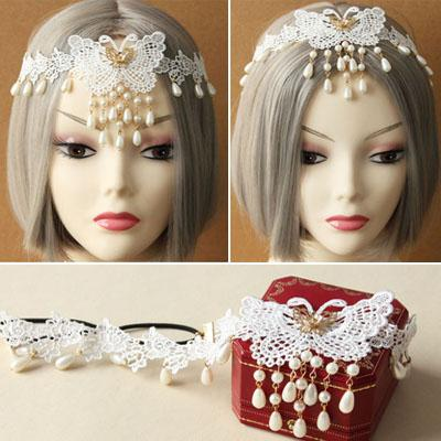 Woman headdress hair Prefrontal Bohemia Tassel Pearl Lace Hair Accessory Tassel Pendant Lace Butterfly Bride Hair Band Female Beach Vacation