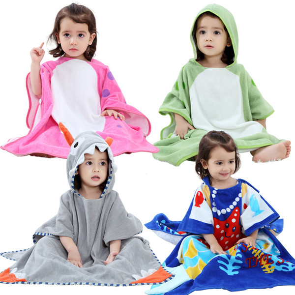 Girls Bathrobes Kids Hooded Cartoon Clothing Babies Colorful Bath Robe Boys  Bathroom Cotton Pajamas Children s Towel ca4bc553d