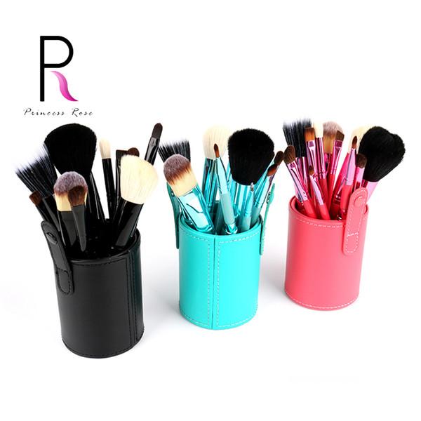 Wholesale-Princess Rose 12pcs Make Up Brush Set Makeup Brushes Kit Pinceis Maquiagem Pincel Pinceaux Maquillage +Leather Brush Holder