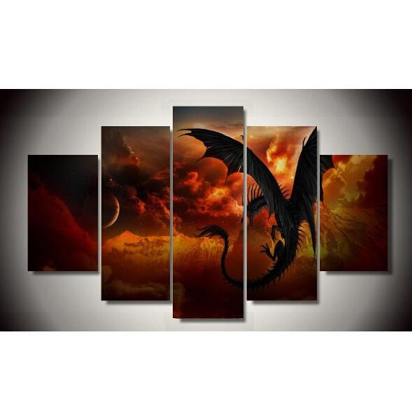 2017Sale Real Painting By Numbers No Frame Dragon 5 Piece Picture Painting Wall Art Children's Room Decor Canvas Free Shipping