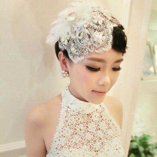 Luxurious Crystals Bridal Hair Headdress Flowers 2017 New Beaded Lace White Bridal Hats Veils Wedding Bride Accessories Free Shipping