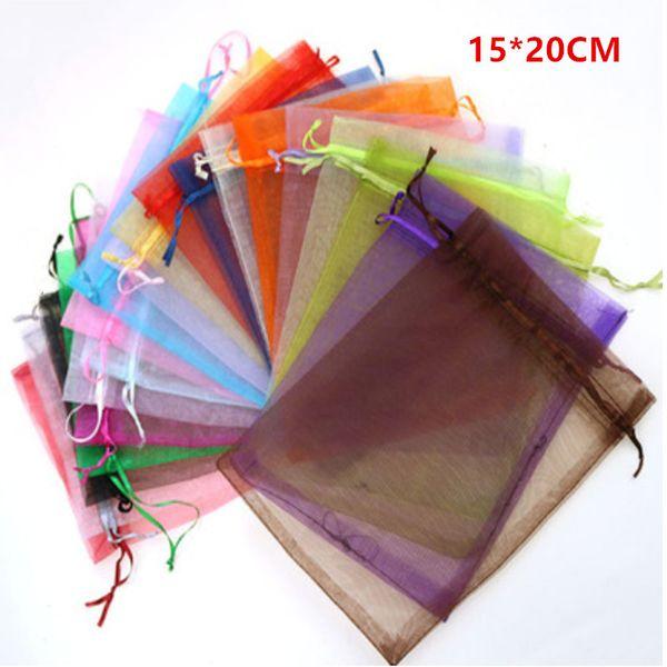 Sacchetto di organza 15x20 Cm Sacchetti di visualizzazione di imballaggio dei monili di cerimonia nuziale di Natale Sacchetti di regalo dei sacchetti dei monili dei sacchetti dei monili 100pcs