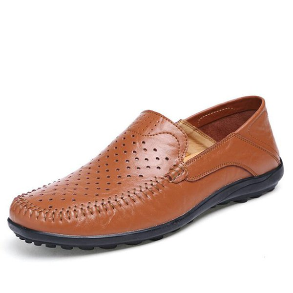 New Genuine Leather Man Business Shoes Male Breathable Hole Shoes Classic Summer Loafers Driving Shoes Plus Size