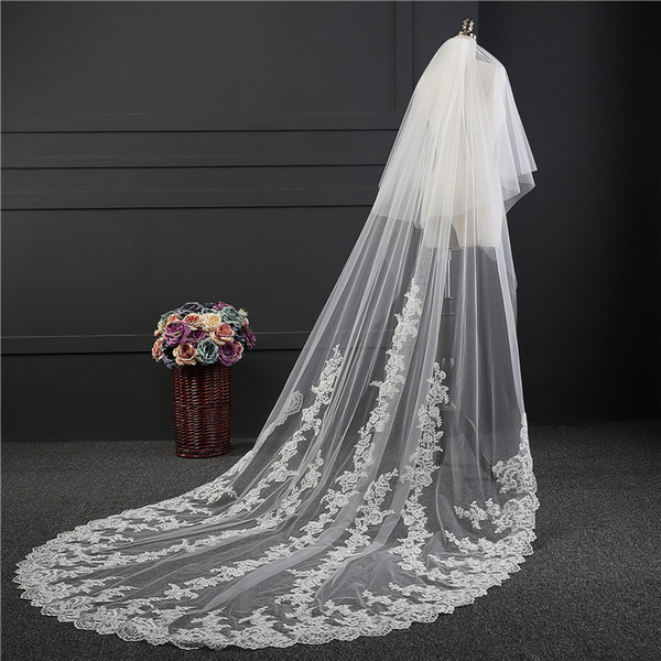 New Style Arrived Elegant High Quality 3M Cathedral Length 1.8M Width Lace Edge Bridal Veil Wedding Veil With Comb Wedding Accessories
